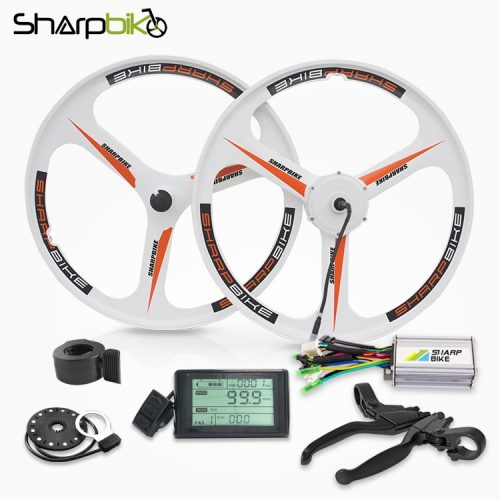 sharpbike-26-inch-white-magnesium-motor-wheel-kit