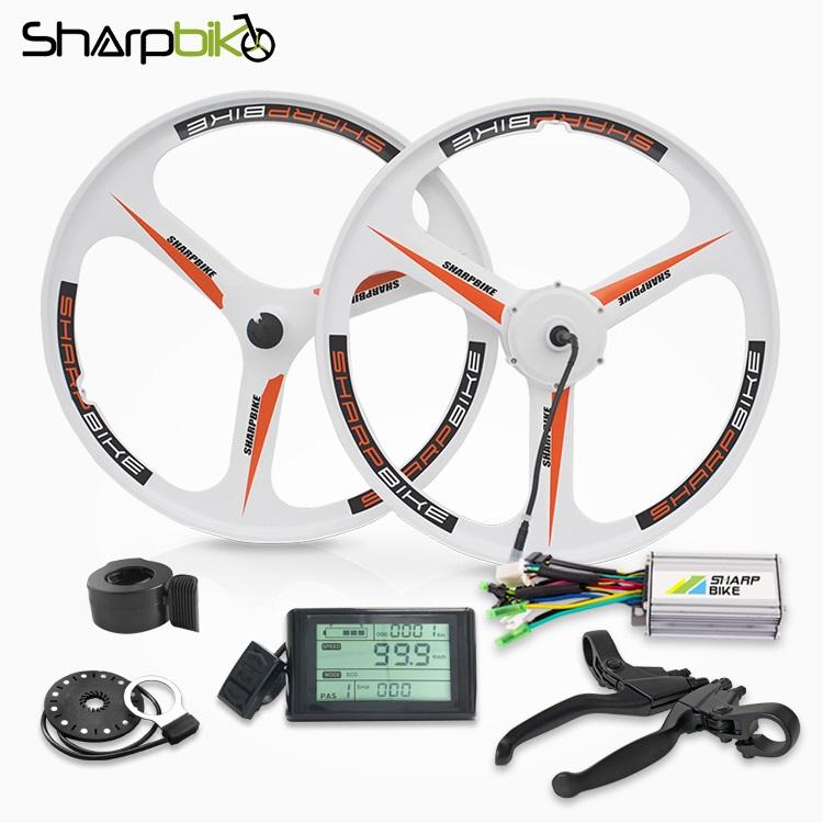 sharpbike-26-inch-white-magnesium-motor-wheel-kit